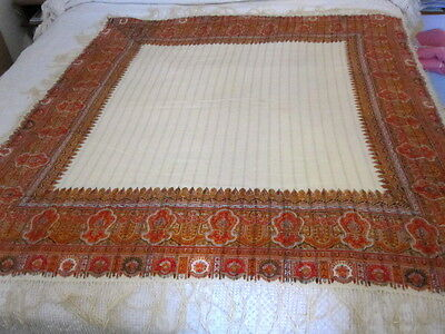 """Antique Kashmir  Printed Shawl  Intricacies 19th Cent. 52x50"""" approx. + 5""""Fringe"""