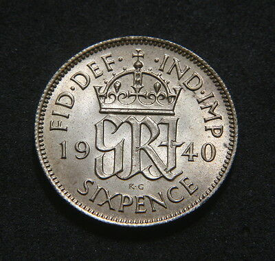 George VI 1940 Sixpence High UNC