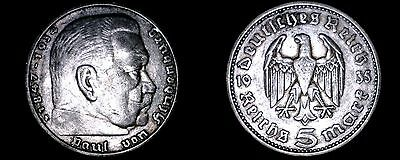 1935-F German 5 Reichsmark World Silver Coin -  Germany 3rd Reich