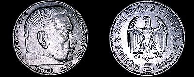 1936-A German 5 Reichsmark World Silver Coin -  Germany 3rd Reich