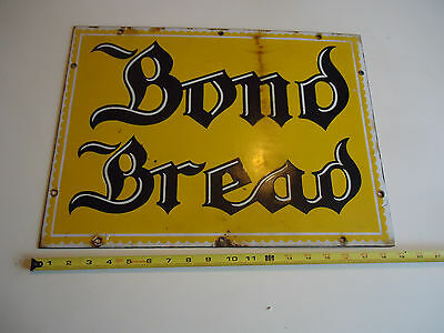 Bond Bread porcelain vtg advertising sign gas oil soda drug store