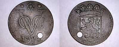 1780 Netherlands East Indies (Holland Arms) 1 Duit World Coin - Holed