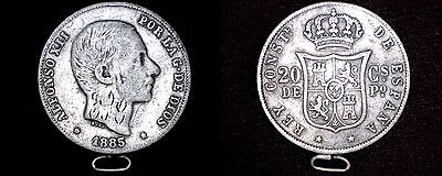 1885 Philippines 20 Centimos World Silver Coin - Spanish Admin - Looped