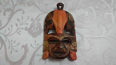 Vintage Decorative African Tribal Hand Painted Wood Wall Hanging Face Mask