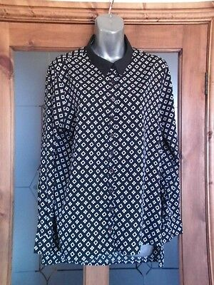 Ladies Black & Grey Patterned Top By Influence Size 14
