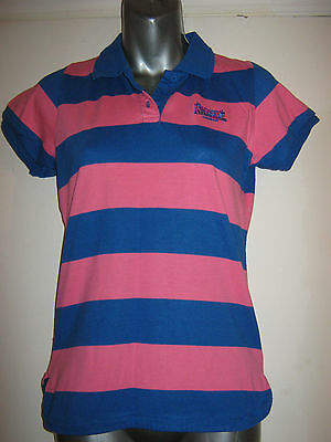 Ladies Pink & Blue Striped Lonsdale Polo Top Size 8