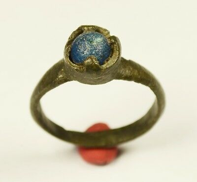 Stunning Medieval Period Ring With Blue Stone In Bezel - Wearable