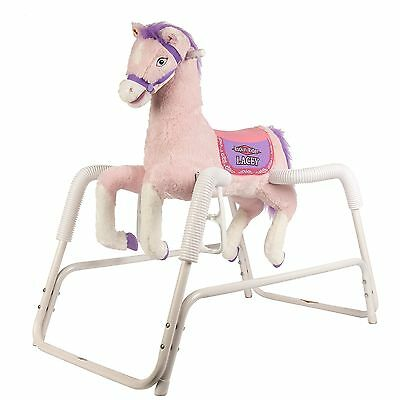 Lacey Deluxe Talking Plush Pink Spring Horse Animated Ride on Toy Saddle Pony