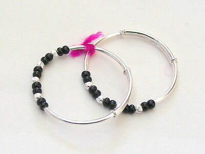 Cute 925 Sterling Silver Handmade Non Allergic  Baby Bangle Pair Size Adjustable