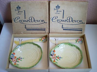 Crown Devon China - Butter Pat Dish and Knife - 2 Sets - Tableware - England