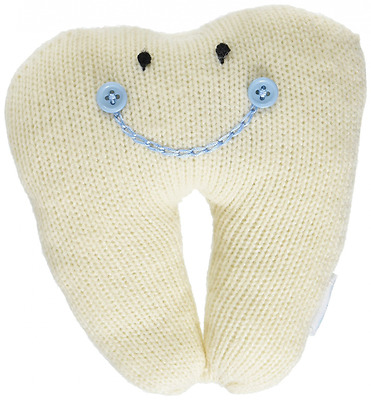 Mud Pie Knit Smiling Sweater Tooth Pillow for Boy, Blue