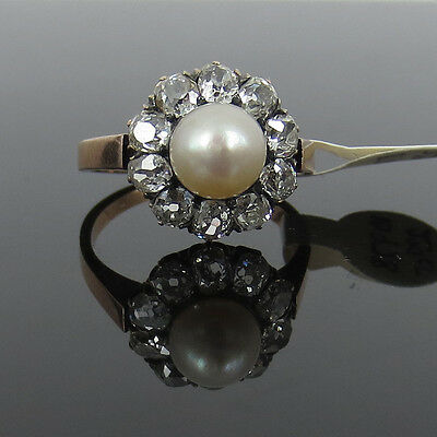 Antique 2.0ct Old Mine Cut Diamond & Natural Pearl 18K Gold Ring - Size 6.75