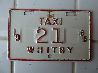 1985 Whitby TAXI License Plate #21......50G