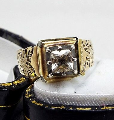 Antique Georgian Victorian 9ct Gold Paste Set Butterfly Band Ring / Size O - P