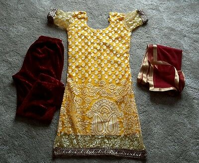 New Girls yellow and maroon punjabi suit age 12-13