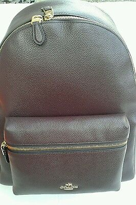 New W Tags & Store Receipt Coach Leather Pebble Charlie Backpack Oxblood F38288