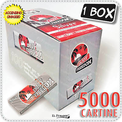 5000 CARTINE ENJOY FREEDOM SILVER CORTE -  1 BOX 100 LIBRETTI Regular Argento