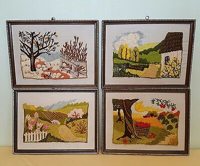 Set Of Vtg Framed Long Stitch Crewel Embroidery Pictures On Linen Four Seasons