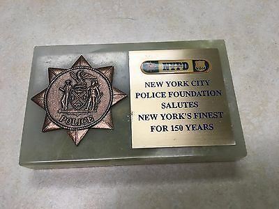 New York City Police Foundation Medal on Marble Base