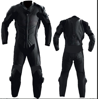 one piece full black  motorbike leather suit Motorcycle Clothing riding suits