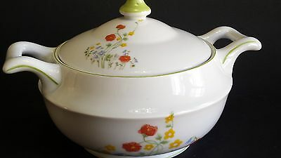 FanLina  ENGLISH FLOWERS POLAND SOUP TUREEN  CASSEROLE DISH  LID CHINA PORCELAIN