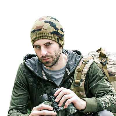 Men Winter Thermal Warm Camouflage Knitted Hat Beanie Outdoor Ski Cap Army Green