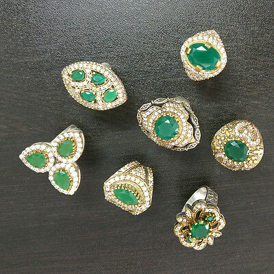 Emerald 7 Pcs Turkish Jewelry Silver Plated And Brass Wholesale Rings Lot S2313