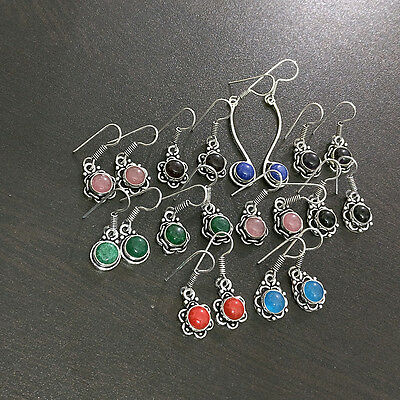 10 Pcs Mix Gemstone Fashion Jewelry  Silver Plated Wholesale Earrings Lot S2526