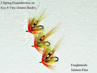 Salmon Flies 3 Spring Flamethrower  Size 6  Vmc  Double