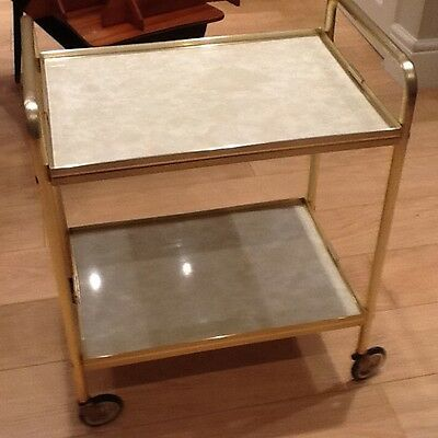 Gold metal frame  Retro tea trolley, marble effect trays good condition