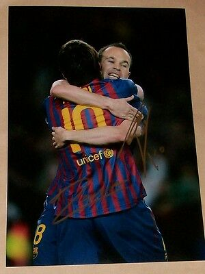 Lionel Messi & Andres Iniesta Barcelona Genuine Hand Signed 12X8 Soccer Photo