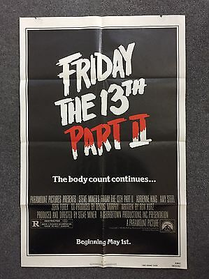 Friday The 13th Part 2 80s Horror Movie Poster 1981 Original One Sheet 27 X 41