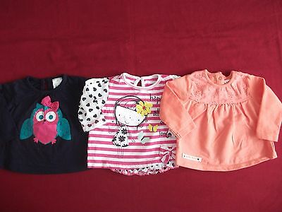 Baby Girls 3-6 Months Bundle - 3 X Long Sleeved Tops