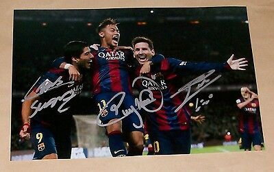 Lionel Messi Luis Suarez Neymar Barcelona Authentic Signed 12X8 Soccer Photo Coa