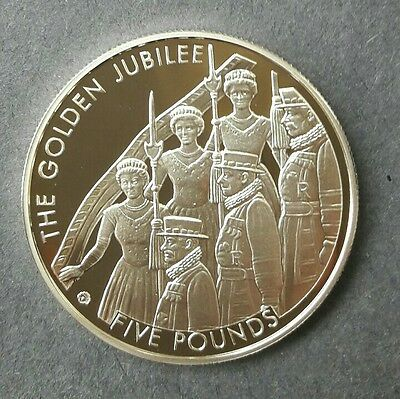 Jersey 2002 Golden Jubilee Silver £5 Proof Coin   With COA.
