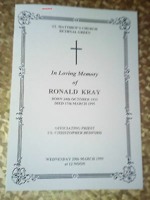 """""""the Colonel"""" Ron Kray Funeral Order Of Service"""