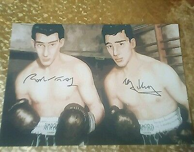The Kray Twins. Art Style Boxing Poster, Signed Photo Copy Print.
