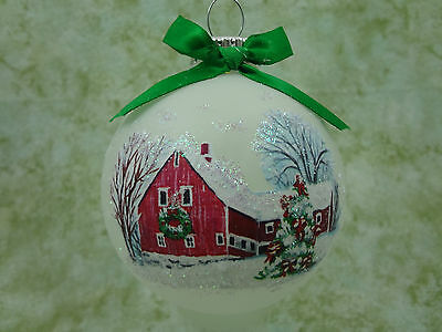 M007 Hand-made Christmas Ornament - festive Christmas holiday red barn
