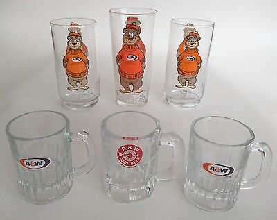 """lot of 6 A & W Root Beer vintage glassware 3 """"The Great Root Bear"""" + 3 mini mugs"""