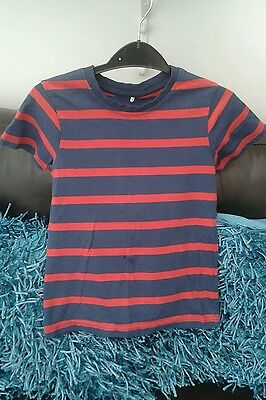 Boys Red & Blue Striped T-shirt Aged 5-6 Years by George Excellent Condition