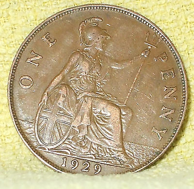 1929 George V One Penny Great Britain Coin (Ref C)