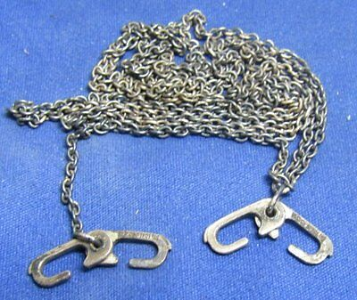 WWII Sterling Army, Navy, USMC Dog Tag Chain With J Hooks FOUR STERLING MARKS