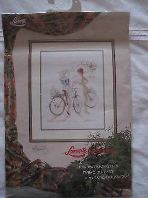 LANARTE Embroidery Kit 'Two girls on a bike' 39 x 49cm Brand New