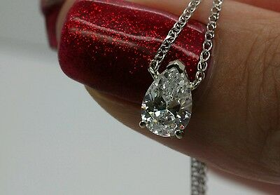 "1Ct Solitaire Pendant Necklace And 18"" Chain Solid 14k White  Gold Pear Shaped"