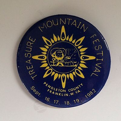 1982 Treasure Mountain Festival Pin Franklin Pendleton Co WV Button Badge W Va