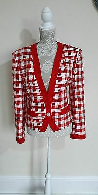 LADIES VINTAGE 80s CHECK CROPPED JACKET SIZE 12