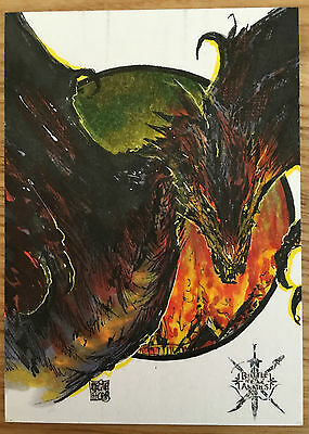 The Hobbit Battle Five Armies Sketch Card by Melike Acar of Smaug