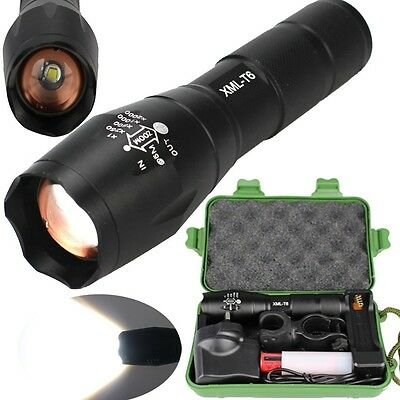 Tactical XML T6 Zoomable LED Flashlight 18650 Battery Charger Torch US -08