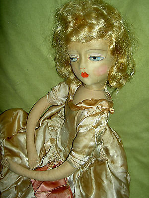 "Charming 28"", Labeled ETTA cloth boudoir bed doll w/swivel neck, orig.costume"