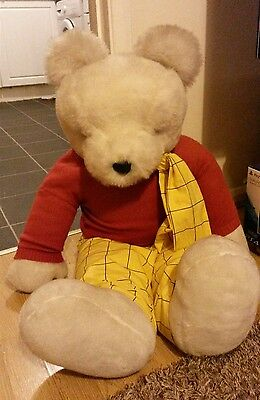 "Rupert The Bear Massive Soft Toy 32"" Tall Vgc And Very Rare!"